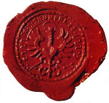 Frühestes im Original vorliegendes Siegel des kayserlich freien Reichsdorfes aus dem Jahre 1732 - Reichsadler mit Nimbus -