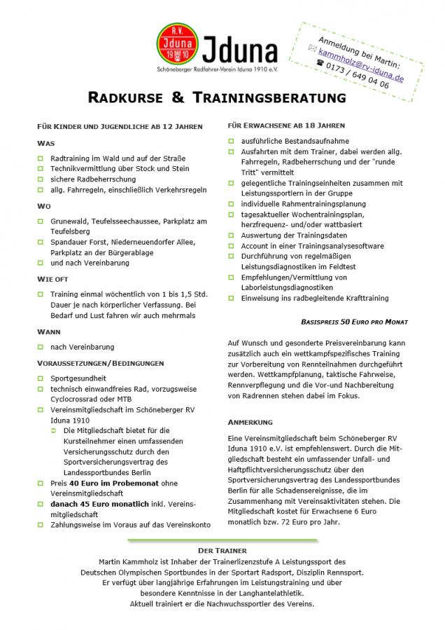 Radkurse und Trainingsberatung
