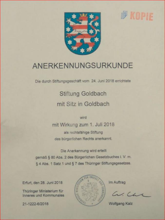 Urkunde Stiftung Goldbach