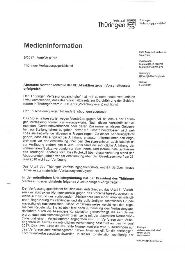 Entscheidung Thür. Verfassungsgerichtshof zum Vorschaltgesetz S. 2