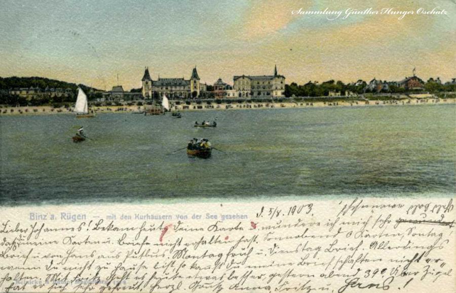 Binz a. Rg. mit den Kurhäusern von der See gesehen