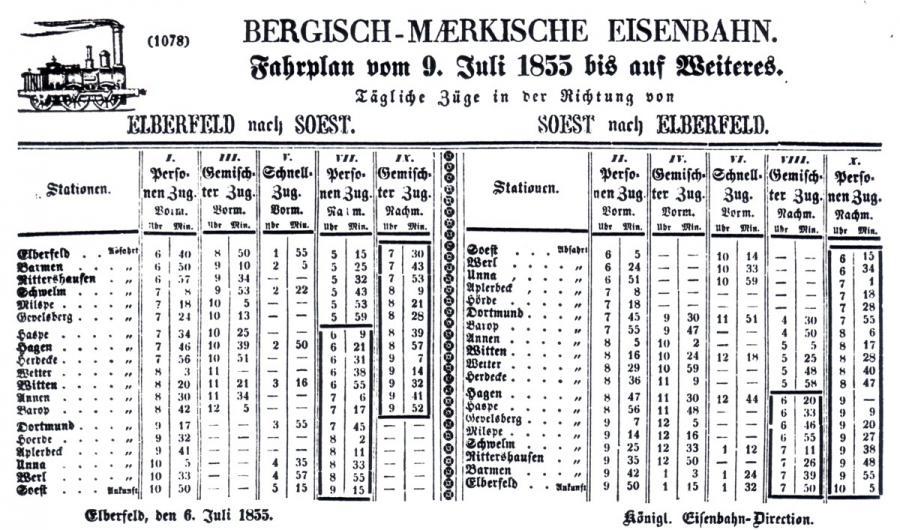 Fahrplan vom 09. Juli 1855