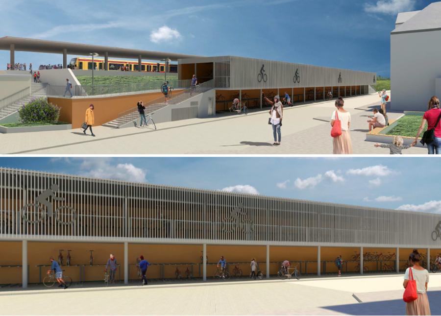 Das neu entstehende Fahrradparkhaus am Oranienburger Bahnhof (Planungsvariante)