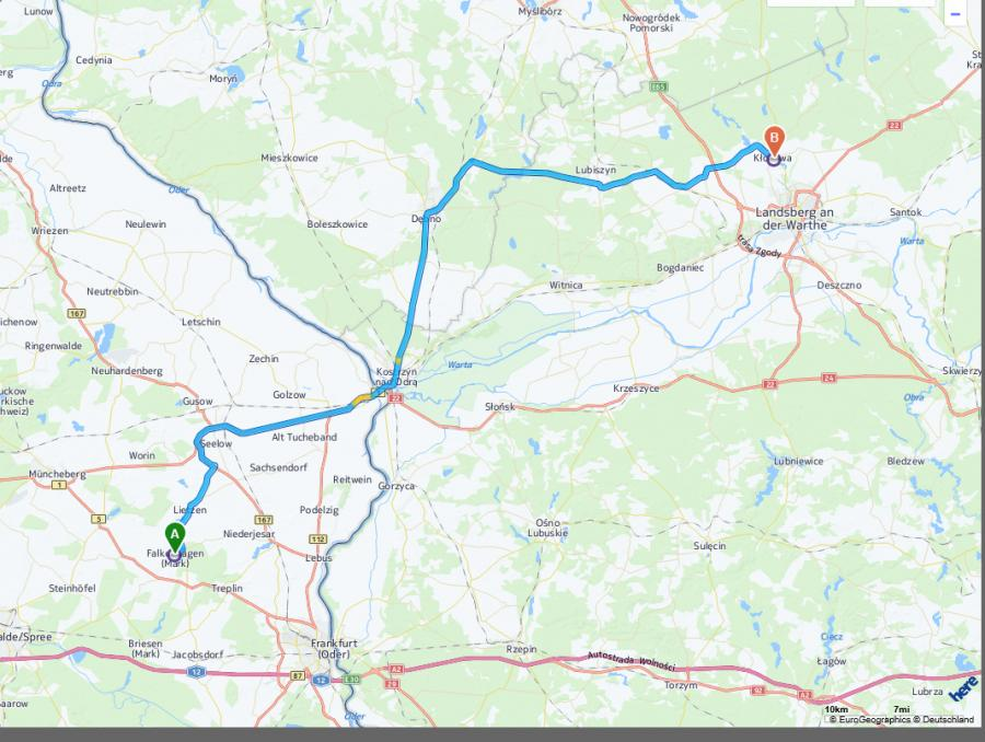 Fahrstrecke nach Klodawa