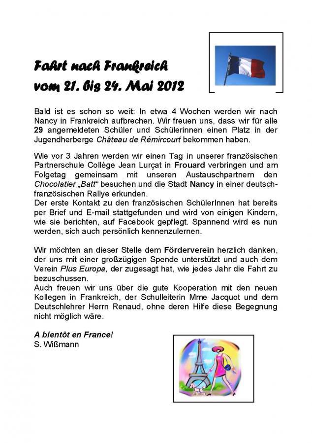 Fahrt nach Frankreich vom 21. bis 24. Mai 2012