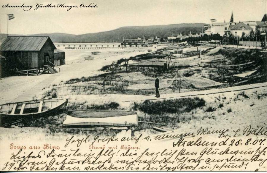 Gruss aus Binz Strand mit Bädern