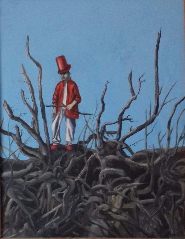 Mann mit rotem Hut1986 Öl auf Hartfaser60 x 78 cm