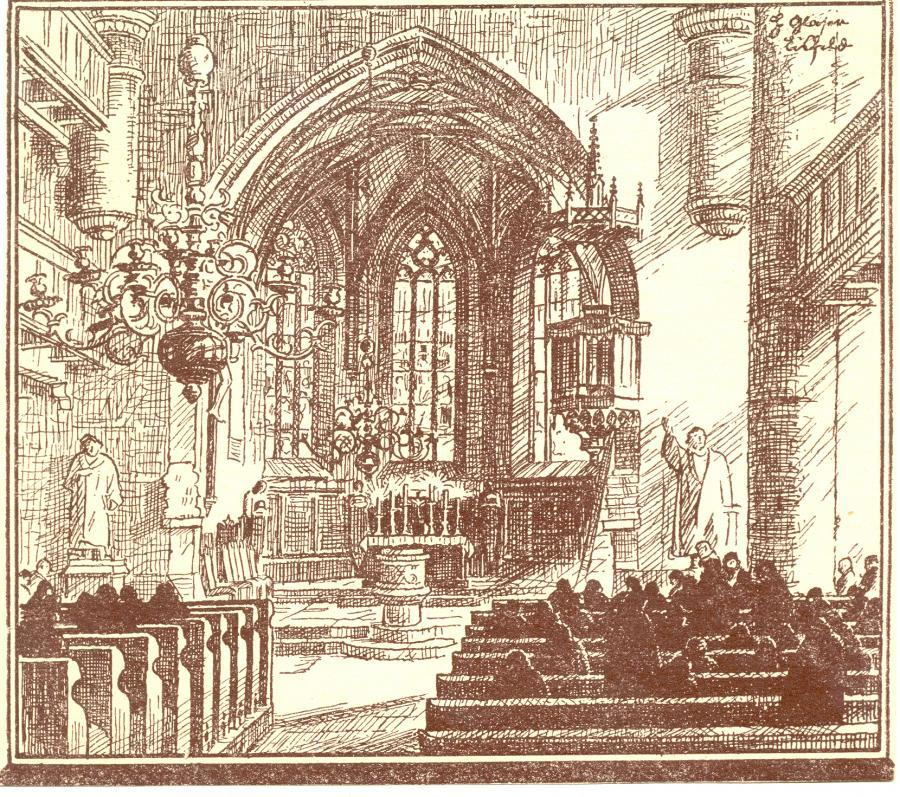Eisfelder Dreifaltigkeitskirche Innen. Federzeichnung Hanns Glaser