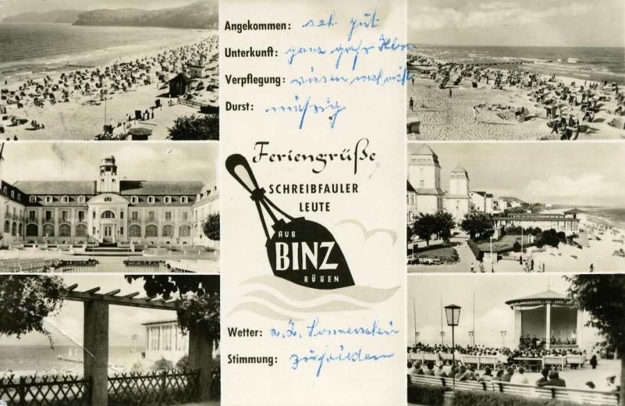 Feriengrüße schreibfauler Leute Binz 1958