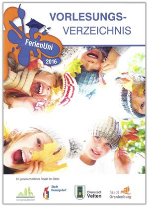 FerienUni 2016 – Cover des Vorlesungsverzeichnisses