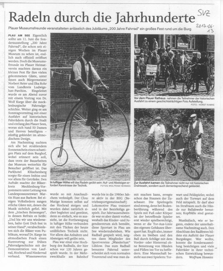 Burgmuseum feiert das Fahrrad
