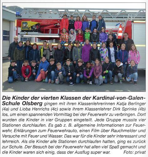 Feuerwehrbesuch Klassen 4