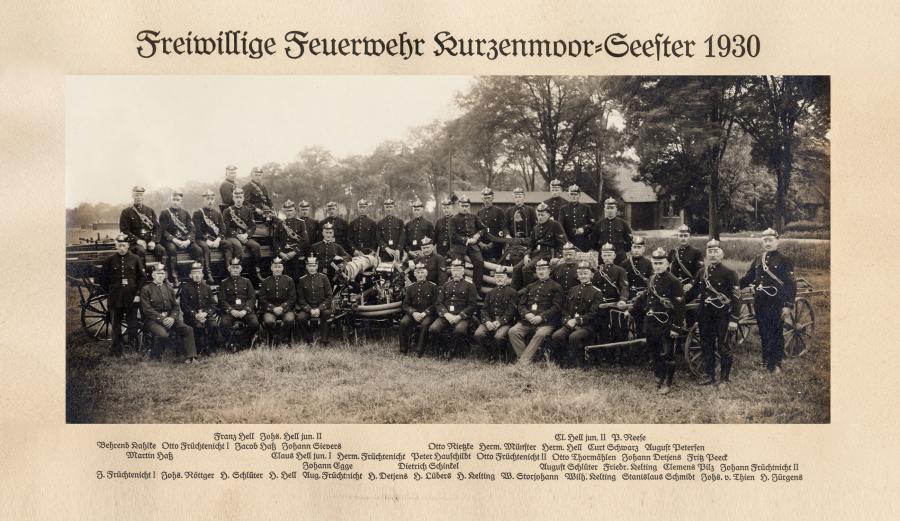 Das erste uns bekannte Gruppenbild der FF Seester aus dem Jahre 1930