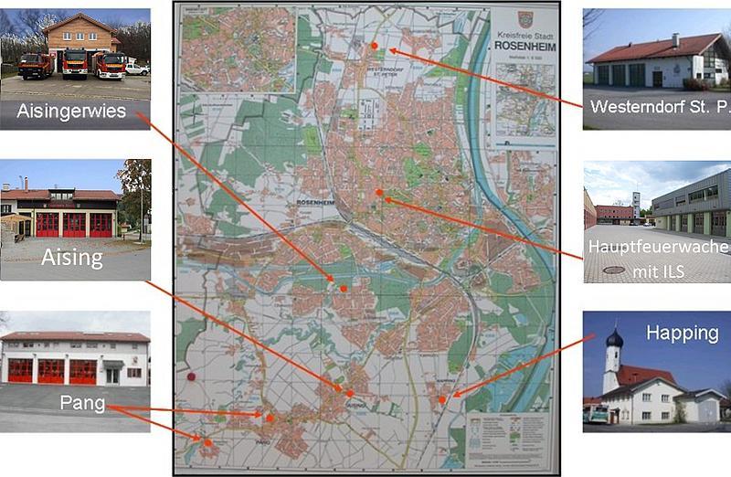 Übersicht der Standorte in der Stadtbrandinspektion