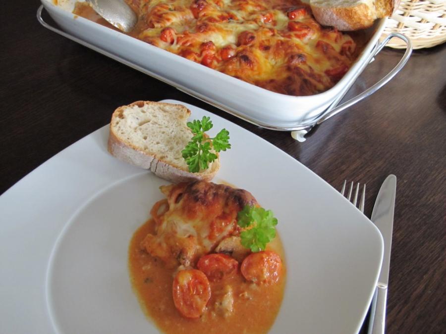 Fischauflauf mit Tomaten