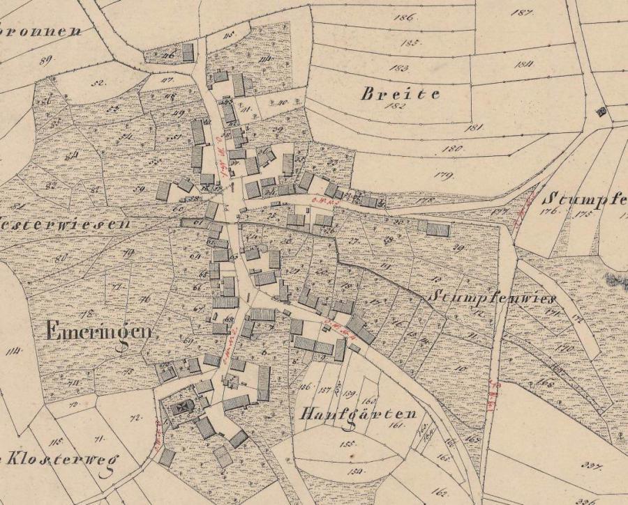 Flurkartenausschnitt aus dem Jahr 1840