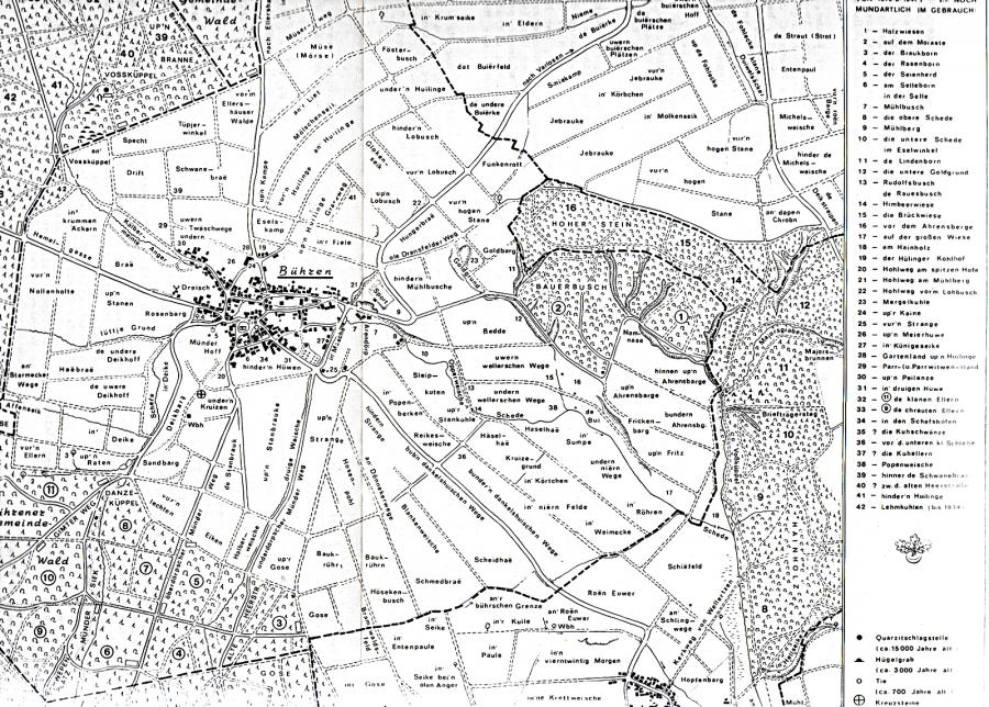 Historische Flurnamenkarte der Gemeinde Bühren