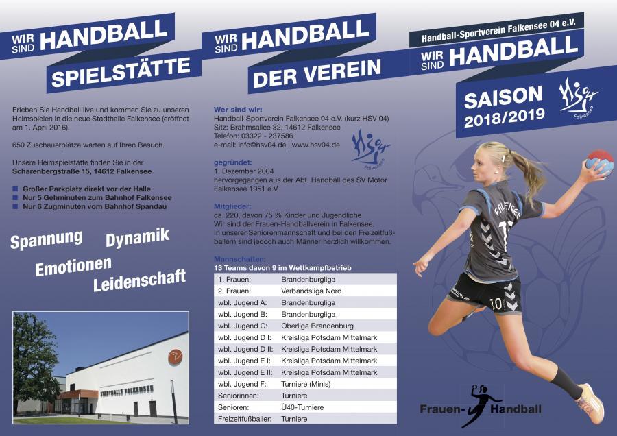 HSV Falkensee 04 Flyer für die Saison 2018/2019
