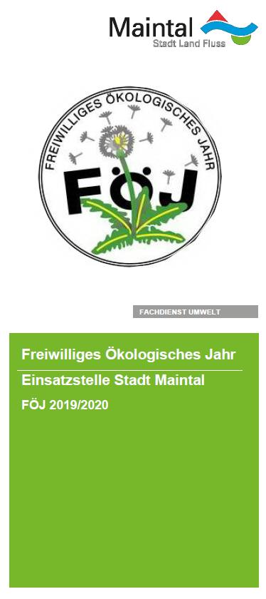 Externer Link zur PDF-Datei Flyer FÖJ; Bild zeigt die erste Seite des Flyers mit der Pusteblume als FÖJ Symbol; Bild: Screenshot - Flyer Stadt Maintal
