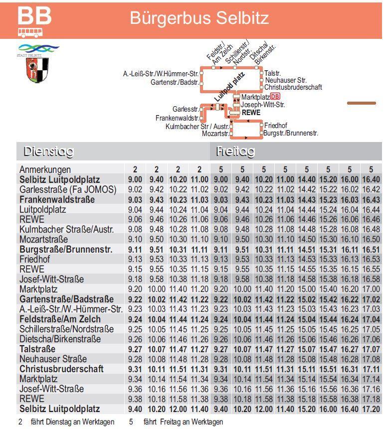 Fahrplan Bürgerbus