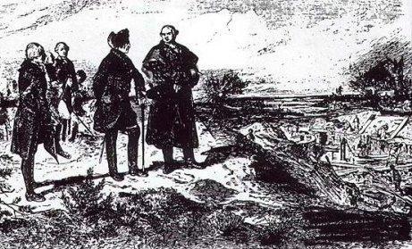Friedrich der Große und Brenckenhoff bei der Besichtigung von Regulierungsarbeiten