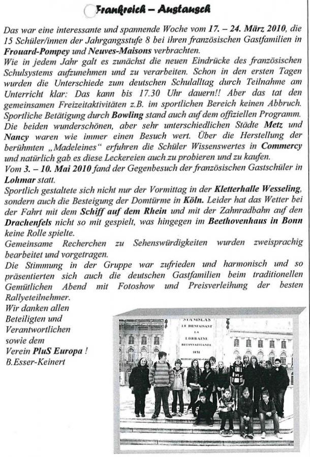 Vom 17. bis zum 24. März 2010 in Frouard-Pompey und Neuves Maisons