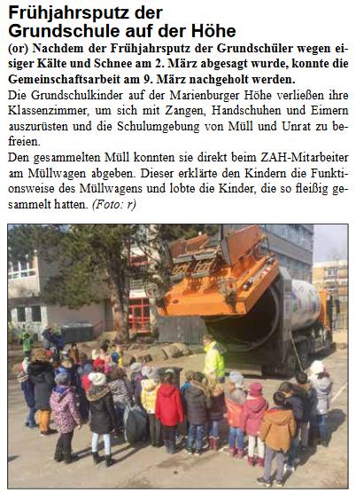 Frühjahrsputz 2018 - Stadtteilzeitung - April 2018
