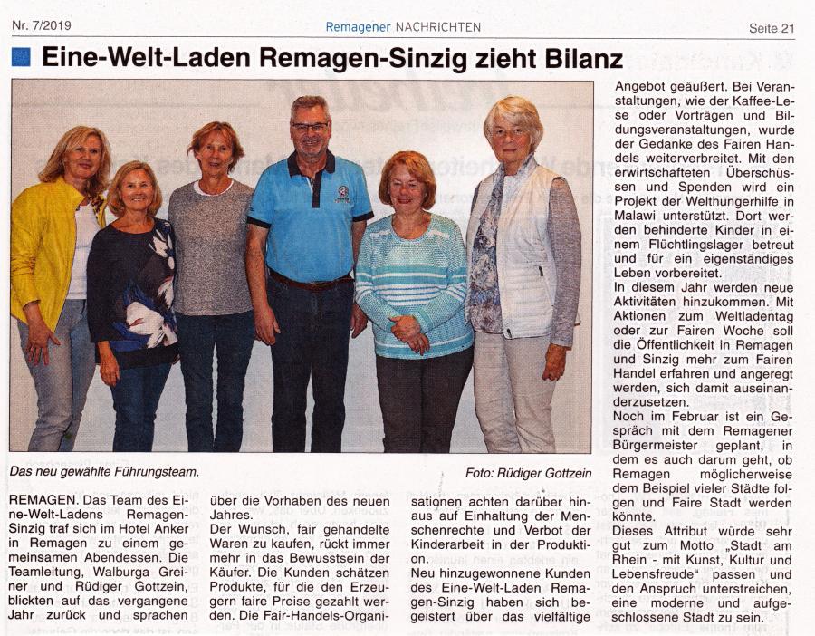 Artikel Remagener Nachrichten v. 13.02.2019