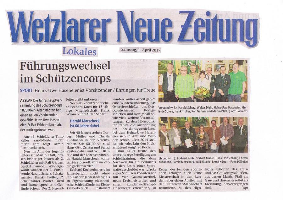 Führungswechsel im Schützencorps - 01.04.2017