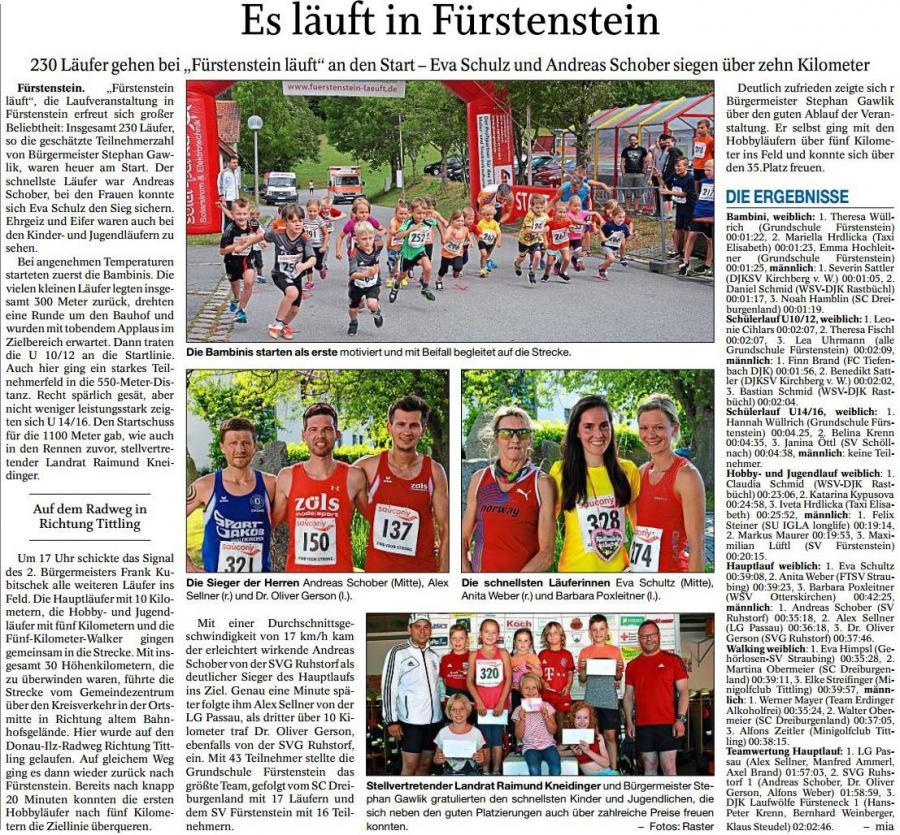 """PNP-Bericht """"Fürstenstein Läuft"""""""