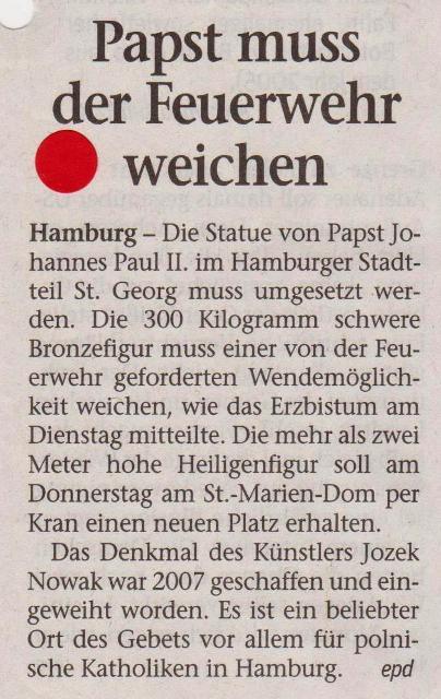 FW 2014.07.23 Papst muss der Feuerwehr weichen