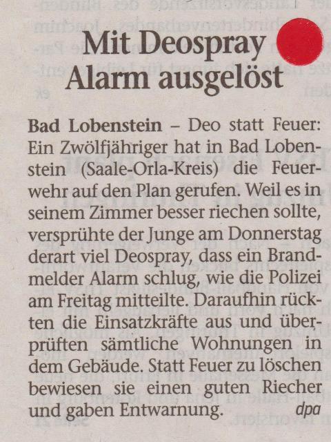 FW 2015.06.20 Deospray löst Alarm aus