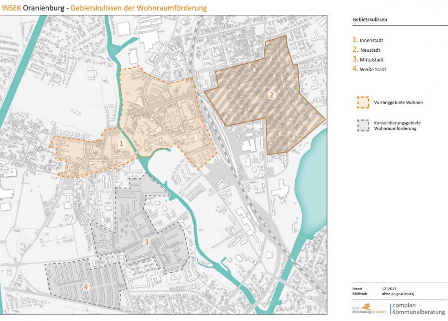 INSEK Oranienburg – Gebietskulissen der Wohnraumförderung (siehe auch PDF-Datei zum Download)