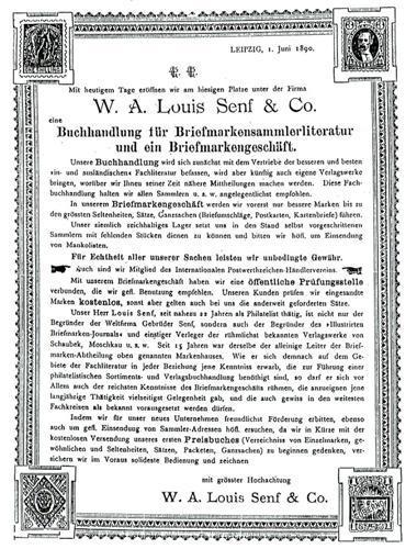 Plakat zur Geschäftseröffnung W.A. Louis Senf