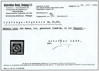 Prüfungs-Ergebnis vom 31.07.1953 einer Uruguay-Marke von 1858