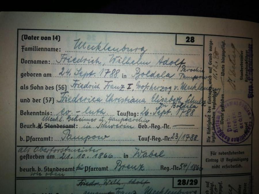 Geburtsurkunde des Oberforstmeisters Friedr.-Wilh.-Adolf Mecklenburg, geb. 24.09.1788, verst. in Wabel mit 78 J.