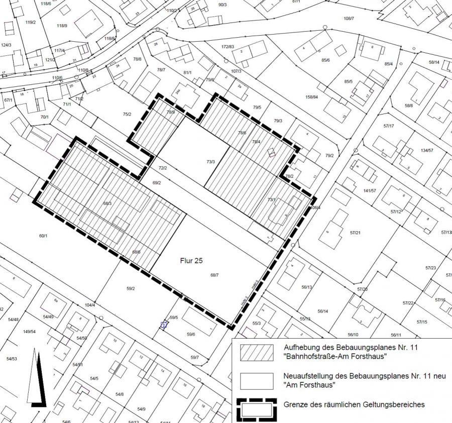 """Übersicht und räumlicher Geltungsbereich des Bebauungsplanes Nr. 11 neu """"Am Forsthaus"""""""