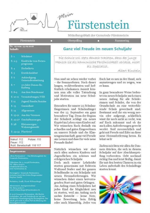 Gemeindeblatt Nr. 19, S. 1