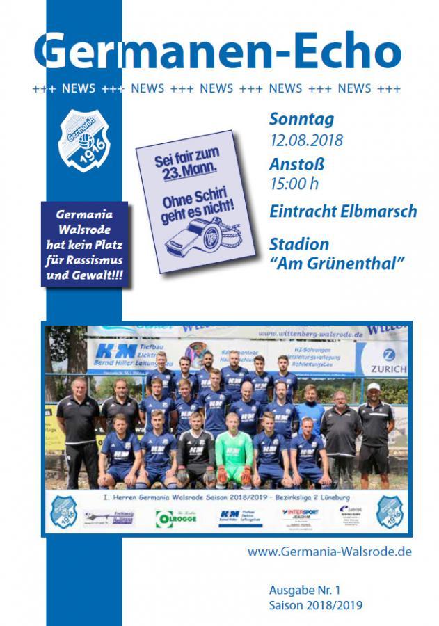 Germanen-Echo Nr. 1 - Eintracht Elbmarsch 12.08.18
