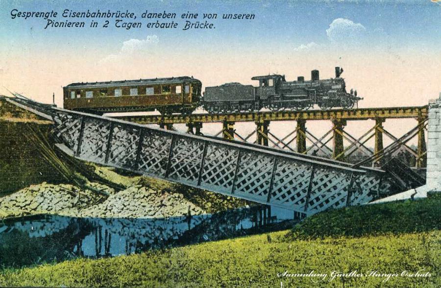 Gesprengte Eisenbahnbrücke