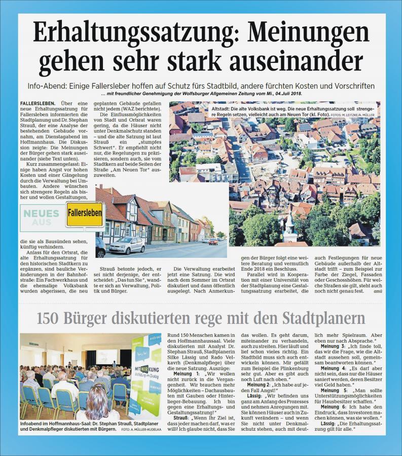 Bericht von der INFO-Veranstaltung Gestaltungssatzung für Fallersleben