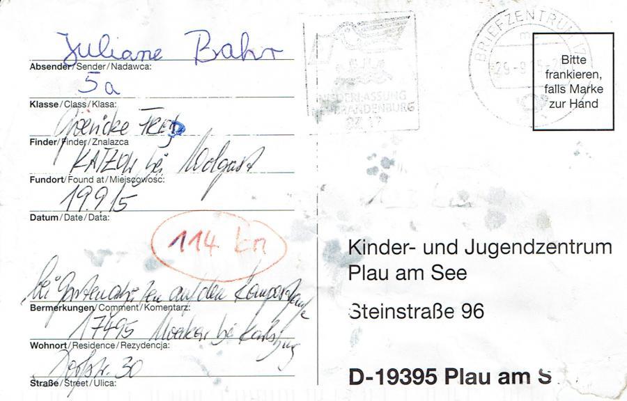 Kjz Plaude Karten Rücksendungen 2015