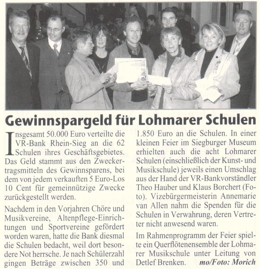 Gewinnsparspiel für Lohmarer Schulen