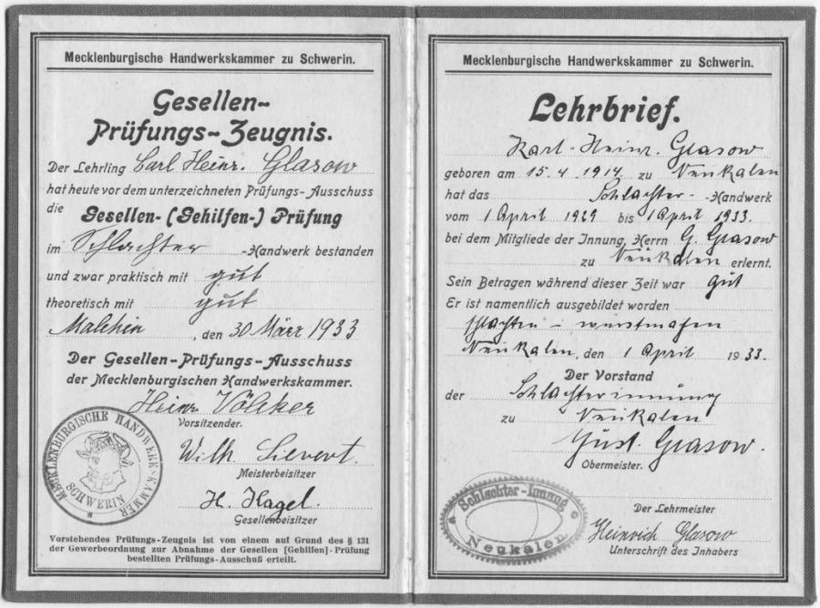 Lehrbrief von Karl-Heinrich Glasow