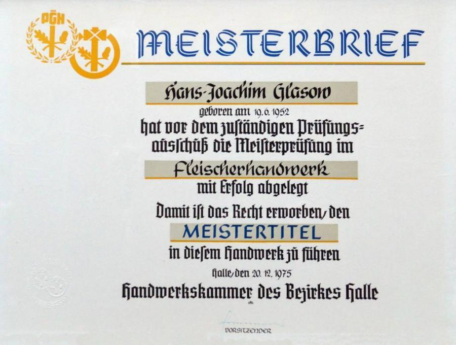 Meisterbrief Hans-Joachim Glasow 1975
