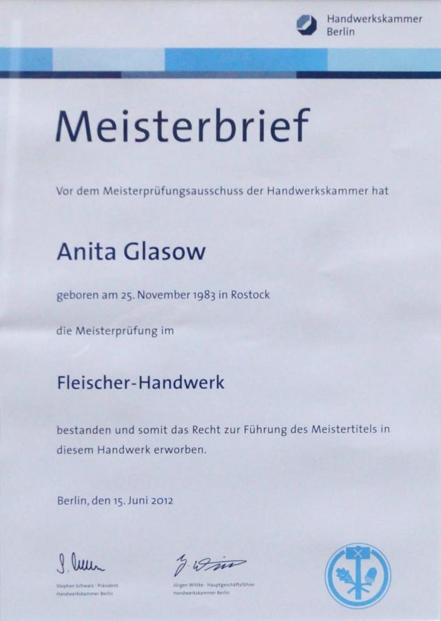 Meisterbrief Anita Glasow 2012