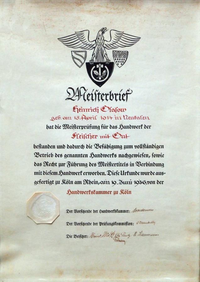 Meisterbrief Kar-Heinrich Glasow 1936