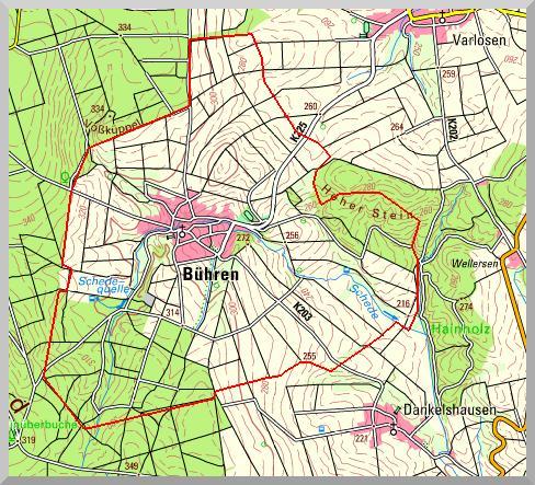 Karte Dorfgrenze/ Grenzverlauf