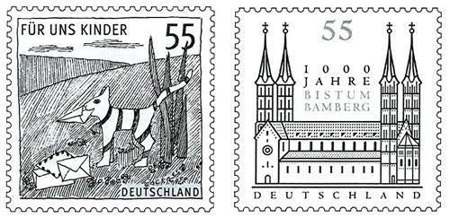 """""""Für uns Kinder"""" mit einem Kater als Postboten (MiNr. 2557) & 1000 Jahre Bistum Bamberg (MiNr. 2579)"""