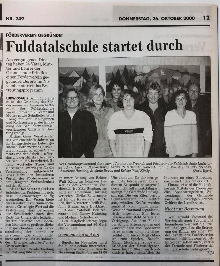 Artikel zur Gründung des Vereins